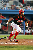 August 23 2008:  Second baseman Alex Castellanos of the Batavia Muckdogs, Class-A affiliate of the St. Louis Cardinals, during a game at Dwyer Stadium in Batavia, NY.  Photo by:  Mike Janes/Four Seam Images