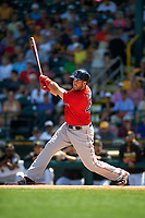 Boston Red Sox first baseman Travis Shaw (47) at bat during a Spring Training game against the Pittsburgh Pirates on March 9, 2016 at McKechnie Field in Bradenton, Florida.  Boston defeated Pittsburgh 6-2.  (Mike Janes/Four Seam Images)