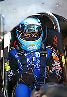Feb 3, 2016; Chandler, AZ, USA; NHRA funny car driver Tommy Johnson Jr during pre season testing at Wild Horse Pass Motorsports Park. Mandatory Credit: Mark J. Rebilas-USA TODAY Sports