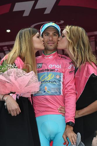29.05.2016. Cuneo to Torino, Italy. Giro d'Italia cycling tour, final stage (21).  Astana rider Vincenzo Nibali celebrates his tour vitory in Torino.