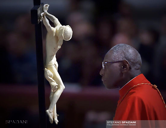 Cardinal Robert Sarah.  Pope Francis the ceremony of the Good Friday Passion of the Lord Mass in Saint Peter's Basilica at the Vatican.March 30, 2018