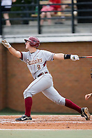 Buster Posey (8) of the Florida State Seminoles follows through on his swing versus the Wake Forest Demon Deacons at Gene Hooks Stadium on the campus of Wake Forest University in Winston-Salem, NC, Friday, March 28, 2008.