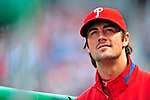 13 April 2009: Philadelphia Phillies' pitcher Cole Hamels watches play from the dugout during the Washington Nationals' Home Opener at Nationals Park in Washington, DC. The Nats fell short in their 9th inning rally, losing 9-8, as the visiting Phillies handed the Nats their 7th consecutive loss of the 2009 season. Mandatory Credit: Ed Wolfstein Photo