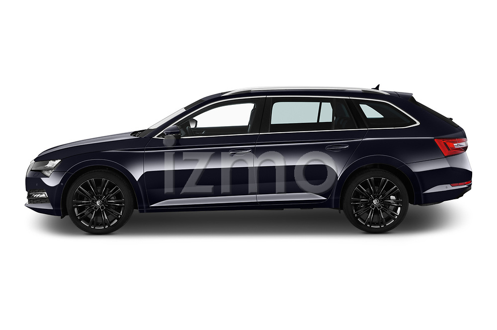 Car Driver side profile view of a 2020 Skoda Superb 5 Door Wagon Side View