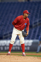 Clearwater Threshers relief pitcher Jesen Therrien (34) looks in for the sign during a game against the Charlotte Stone Crabs on April 12, 2016 at Bright House Field in Clearwater, Florida.  Charlotte defeated Clearwater 2-1.  (Mike Janes/Four Seam Images)