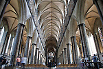 Nave of Salisbury Cathedral with Visitors, Salisbury, England, UK