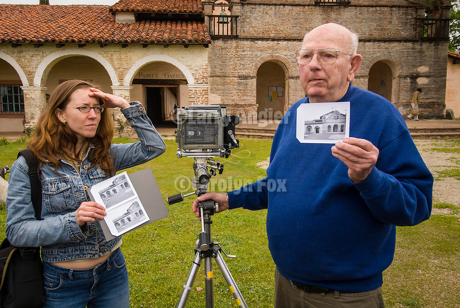 Al Weber demonstrates exposure and view camera usage using a Sinar camera and Polaroid instant prints for workshop participants