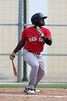 Boston Red Sox outfielder Jackie Bradley Jr #35 during an Instructional League game against the Minnesota Twins at Red Sox Minor League Training Complex in Fort Myers, Florida;  October 3, 2011.  (Mike Janes/Four Seam Images)