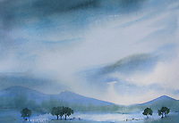 Watercolour painting of mountains and trees against rainy sky