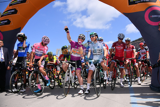 The leaders jerseys lined up before the start of Stage 4 of the 100th edition of the Giro d'Italia 2017, running 181km from Cefalu to Mount Etna, Sicily, Italy. 9th May 2017.<br /> Picture: LaPresse/Gian Mattia D'Alberto | Cyclefile<br /> <br /> <br /> All photos usage must carry mandatory copyright credit (&copy; Cyclefile | LaPresse/Gian Mattia D'Alberto)