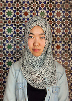 Egypt / Cairo / 19.5.2013. Ding Lan poses for a portrait in Al Azhar University, Nasr City, Cairo. © Giulia Marchi