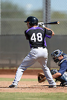 Colorado Rockies second baseman Taylor Featherston (48) during an instructional league game against the Milwaukee Brewers on October 1, 2013 at Maryvale Baseball Park Training Complex in Phoenix, Arizona.  (Mike Janes/Four Seam Images)