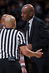 Wake Forest Demon Deacons head coach Danny Manning discusses a call with referee Bill Covington, Jr. during second half action against the Tennessee Volunteers at the LJVM Coliseum on December 23, 2017 in Winston-Salem, North Carolina.  The Volunteers defeated the Demon Deacons 79-60.  (Brian Westerholt/Sports On Film)