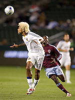 LA Galaxy defender Abel Xavier (17) clears a ball away from Colorado Rapids forward Omar Cummings (14) late in the second half. The Colorado Rapids defeated the LA Galaxy 1-0 during the preliminary rounds of the 2008 US Open Cup at Home Depot Center stadium in Carson, Calif., on Tuesday, May 27, 2008.