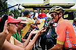 Olympic Champion Greg Van Avermaet (BEL) with fans at sign on before Stage 19 of the 2019 Tour de France originally running 126.5km from Saint-Jean-de-Maurienne to Tignes but cut short to 88.5 km due to heavy hailstorms, France. 26th July 2019.<br /> Picture: ASO/Pauline Ballet | Cyclefile<br /> All photos usage must carry mandatory copyright credit (© Cyclefile | ASO/Pauline Ballet)