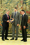 King Felipe VI of Spain (c) receives in audience to the Spanish driver Carlos Sainz (l) winner of the Dakar Rally 2018 at the Zarzuela Palace. April 26,2015. (ALTERPHOTOS/Acero)
