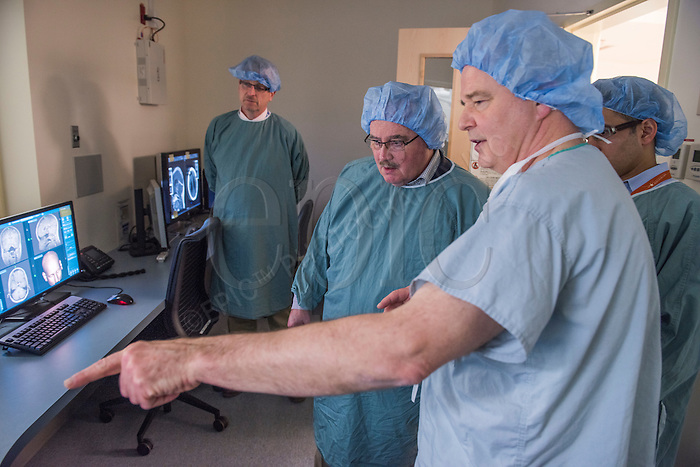 Dr. Keith Aronyk leads the Honourable Brian Mason, Infrastructure Minister and Transportation Minister on a tour of University of Alberta Hospital's new Dan and Bunny Widney Intra-operative MRI Suite on Wednesday, March 2, 2016.