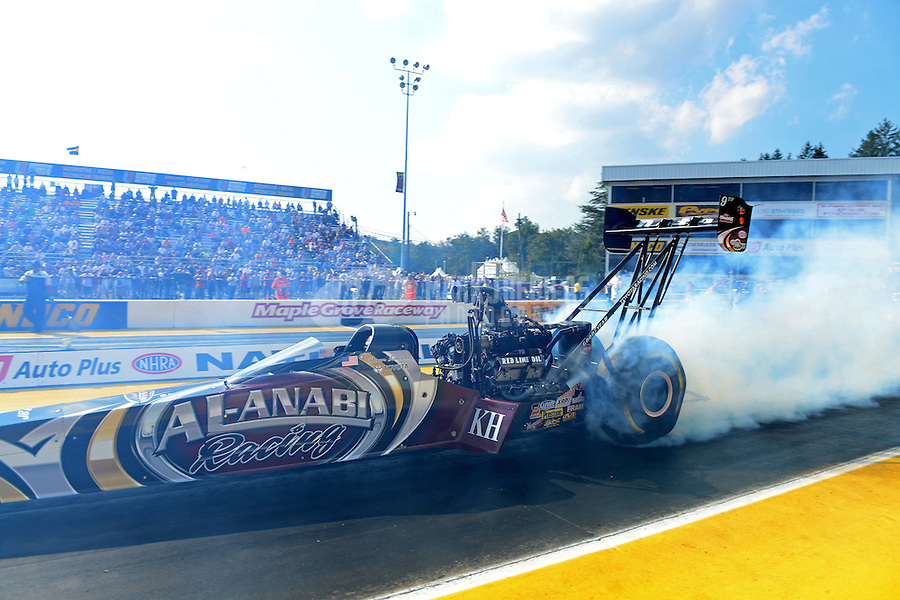 Oct. 5, 2012; Mohnton, PA, USA: NHRA top fuel dragster driver Shawn Langdon  during qualifying for the Auto Plus Nationals at Maple Grove Raceway. Mandatory Credit: Mark J. Rebilas-