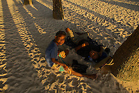 The Aeta are an indigenous people who live in scattered, isolated mountainous parts of the Philippines. Aetas are considered as the earliest inhabitants of the Philippines, preceding the Austronesian migrations. They are nomadic and build only temporary shelters made of sticks driven to the ground and covered with the palm of banana leaves. Boracay, Philippines
