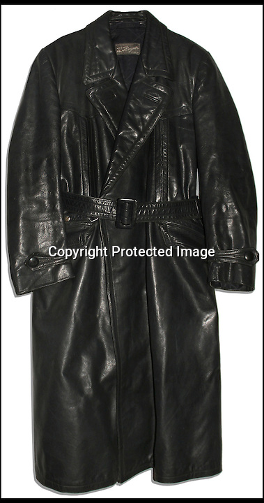 BNPS.co.uk (01202 558833)<br /> Pic: Nate's/BNPS<br /> <br /> ***Please use full byline***<br /> <br /> The long, black leather coat owned by notorious Nazi Albert Speer that was liberated by an Allied soldier at the end of the war has emerged for sale at Nate D Sanders Auctioneers in Los Angeles.<br /> <br /> The jacket - similar to the one worn by Gestapo officer Herr Flick in TV's 'Allo 'Allo! - comes with a note from the serviceman explaining how he found it.<br /> <br /> He wrote home to his mother stating he had visited a large chalet in Berchtesgaden in the Bavarian Alps, where Hitler had his 'Eagle's Nest' retreat.<br /> <br /> The note, dated May 4, 1945, the day Bavaria surrendered, told how he had taken some mementoes for his parents, including the full length leather coat.