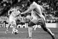 James and Cristiano Ronaldo of Real Madrid during the Champions League group B soccer match between Real Madrid and FC Basel 1893 at Santiago Bernabeu Stadium in Madrid, Spain. September 16, 2014. (ALTERPHOTOS/Caro Marin)(EDITORS NOTE: This image has been converted to black and white)