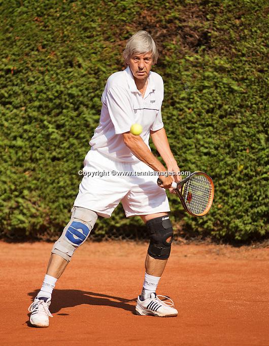 Netherlands, Amstelveen, August 22, 2015, Tennis,  National Veteran Championships, NVK, TV de Kegel,  Men's 65+, Hans Adama Van Scheltema<br /> Photo: Tennisimages/Henk Koster