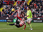 Caolan Lavery of Sheffield Utd attempts an overhead kick during the English League One match at Bramall Lane Stadium, Sheffield. Picture date: December 31st, 2016. Pic Simon Bellis/Sportimage