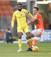 Blackpool's Ben Heneghan in action with Bristol Rovers' Stefan Payne<br /> <br /> Photographer Mick Walker/CameraSport<br /> <br /> The EFL Sky Bet League One - Blackpool v Bristol Rovers - Saturday 3rd November 2018 - Bloomfield Road - Blackpool<br /> <br /> World Copyright &copy; 2018 CameraSport. All rights reserved. 43 Linden Ave. Countesthorpe. Leicester. England. LE8 5PG - Tel: +44 (0) 116 277 4147 - admin@camerasport.com - www.camerasport.com