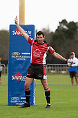 Referee Brandon Roberts awards a penalty try to Ardmore Marist. Counties Manukau Premier Club Rugby game between Ardmore Marist and Manurewa, played at Bruce Pulman Park Papakura on Saturday May 12th 2018. Ardmore Marist won the game 20 - 3 after leading 17 - 3 at halftime.<br /> Ardmore Marist - Katetistoti Nginingini try, penalty try, Latiume Fosita conversion, Latiume Fosita 2 penalties.<br /> Manurewa - Logan Fonoti penalty.<br /> Photo by Richard Spranger.