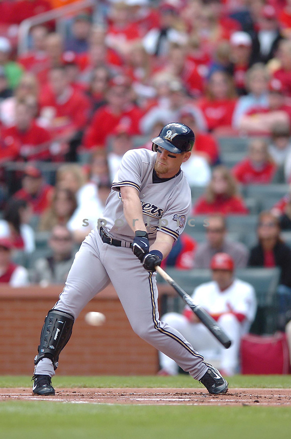 GEOFF JENKINS, of the Milwaukee Brewers, in action during the Brewers game against the St. Louis Brewers in St. Louis, Missouri on April 15, 2007...Cardinals win 10-2....CHRIS BERNACCHI/ SPORTPICS..
