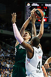 Basketball Real Madrid´s Slaughter (R) and Zalgiris Kaunas´s Ulanovas during Euroleague basketball match in Madrid, Spain. October 17, 2014. (ALTERPHOTOS/Victor Blanco)