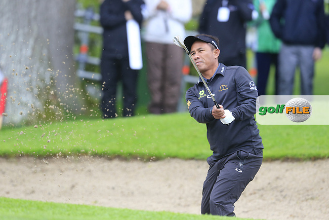Thongchai Jaidee (THA) chips from a bunker at the 17th green during Thursday's Round 1 of the 2016 Dubai Duty Free Irish Open hosted by Rory Foundation held at the K Club, Straffan, Co.Kildare, Ireland. 19th May 2016.<br /> Picture: Eoin Clarke | Golffile<br /> <br /> <br /> All photos usage must carry mandatory copyright credit (&copy; Golffile | Eoin Clarke)