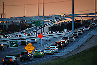 Beautiful sunset falls on Mopac Expressway (Loop 1) Highway 183 interchange, Austin's most infamous freeway for 24/7 traffic jams and never ending congestion.
