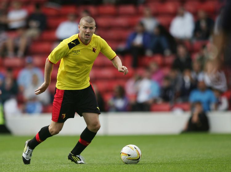 Watford's Carl Dickinson in action during todays match  ..Football Friendly - Watford v Tottenham Hotspur - Sunday 5th August 2012 - Vicarage Road - Watford..