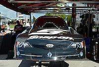 Jan. 16, 2013; Jupiter, FL, USA: The body from the car of NHRA funny car driver Cruz Pedregon during testing at the PRO Winter Warmup at Palm Beach International Raceway.  Mandatory Credit: Mark J. Rebilas-