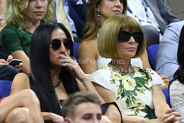 FLUSHING NY- AUGUST 29: Vera Wang and Anna Wintour are sighted watching Novak Djokovic Vs Jerzy Janowicz on Arthur Ashe Stadium at the USTA Billie Jean King National Tennis Center on August 29, 2016 in Flushing Queens. Photo by MPI04/MediaPunch