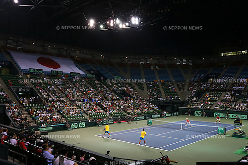 General view, SEPTEMBER 14, 2013 - Tennis : Davis Cup 2013 by BNP Paribas World Group Play-off, doubles match between Tatsuma Ito and Yuichi Sugita 0-3 Juan Sebastian Cabal and Robert Farah at Ariake Coliseum, Tokyo, Japan. (Photo by AFLO SPORT) [1156]
