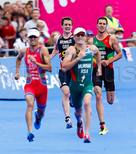31.05.2014.  London, England.  The anguish on Alistair BROWNLEE's (GBR, 15) face is clear to see as he realises he doesn't have a kick left for a sprint finish & eventually finishes fourth - during the ITU World Triathlon Elite Men's race being held in Hyde Park.