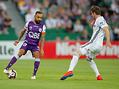 2nd February 2019, HBF Park, Perth, Australia; A League football, Perth Glory versus Wellington Phoenix; Diego Castro of the Perth Glory controls the ball in front of Alex Rufer of Wellington Phoenix