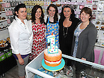 Staff members Louise McDermott, Nicole O'Keeffe, Kate Coscoran, Clare McDermott and Proprietor Aoife Collins at the 1st birthday celebrations of Cake Couture on West street. Photo: www.colinbellphotos.com