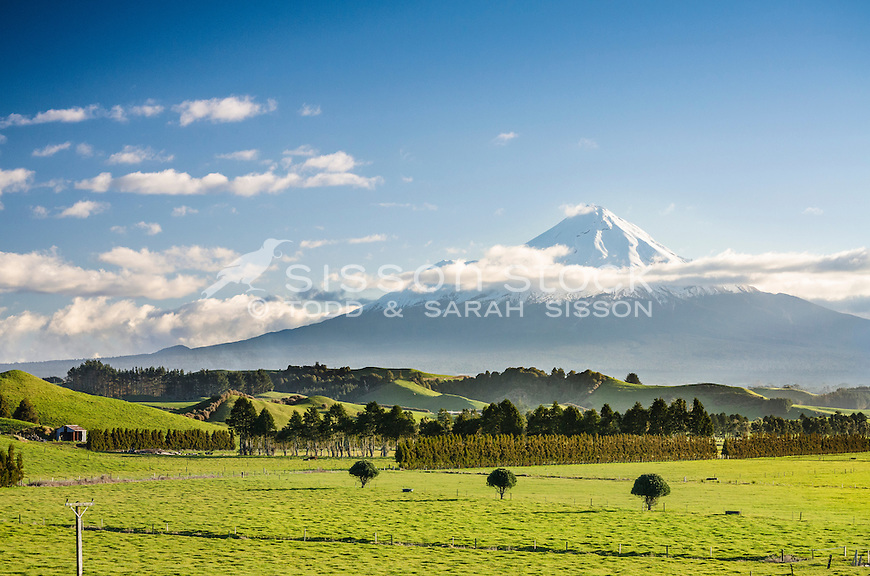 View of Mount Egmont and farmland, Taranaki, North Island, New Zealand - stock photo, canvas, fine art print