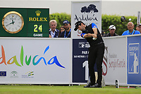 Gregory Bourdy (FRA) tees off the 1st tee during Sunday's storm delayed Final Round 3 of the Andalucia Valderrama Masters 2018 hosted by the Sergio Foundation, held at Real Golf de Valderrama, Sotogrande, San Roque, Spain. 21st October 2018.<br /> Picture: Eoin Clarke | Golffile<br /> <br /> <br /> All photos usage must carry mandatory copyright credit (&copy; Golffile | Eoin Clarke)