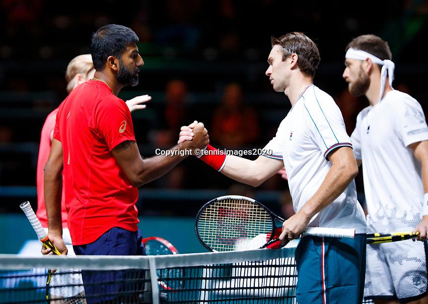 Rotterdam, The Netherlands, 11 Februari 2020, ABNAMRO World Tennis Tournament, Ahoy, <br /> Rohan Bopanna (IND) and Denis Shpovalov (CAN), John Peers (AUS) and Michael Venus (NZL).<br /> Photo: www.tennisimages.com