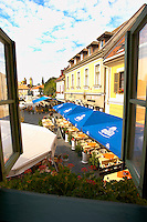 Dobo Square with cafe and Restaurant tables from Hotel Senator Bedroom - Eger Hungary