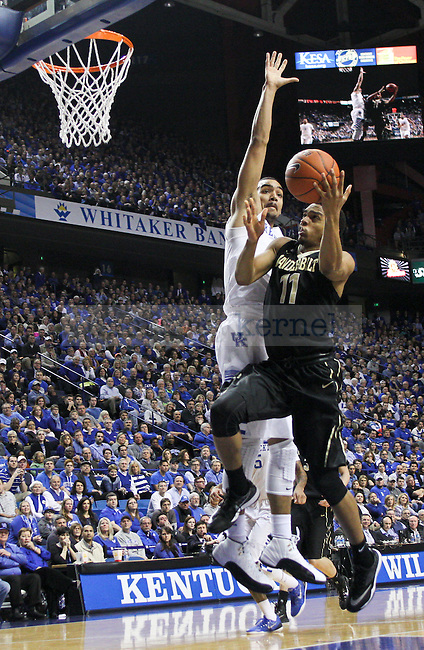 Kentucky forward Trey Lyles tries to block a shot during the First half of the University of Kentucky vs. Vanderbilt game at the Rupp Arena in Lexington, Ky., on Tuesday, January 20, 2015. Photo by Jonathan Krueger | Staff