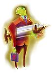Businessman carrying a syringe