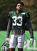 Jamal Adams #33 of the New York Jets takes off his helmet to cool off during a hot day of training camp at the Atlantic Health Jets Training Center in Florham Park, NJ on Monday, Aug. 6, 2018.