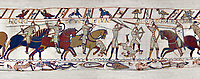 11the Century Medieval Bayeux Tapestry - Scene 52 - Death of Harold brothers, Lewine and Gyrd.