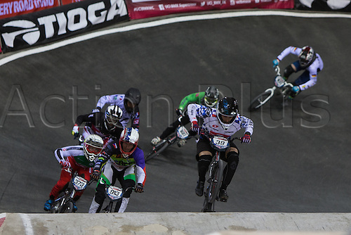 09.04.2016. National Cycling Centre, Manchester, England. UCI BMX Supercross World Cup day 1. Sylvain Andre leads from Jan Svub and Renaud Blanc.