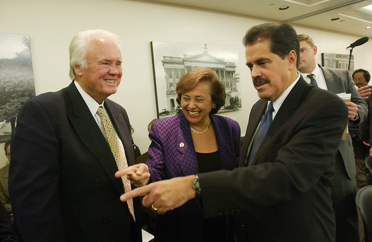 10/28/03.FISCAL 2004 SUPPLEMENTAL IRAQ AND AFGHANISTAN OPERATIONS/CONFERENCE COMMITTEE--House Appropriations Chairman C.W. Bill Young, R-Fla., Rep. Nita M. Lowey, D-N.Y., and Jose E. Serrano, D-N.Y., visit as House and Senate conferees gather to consider legislation that would make supplemental fiscal 2004 appropriations for operation in Iraq and Afghanistan. .CONGRESSIONAL QUARTERLY PHOTO BY SCOTT J. FERRELL